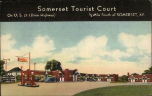 Somerset KY Tourist Court Shell Gas Station Linen Postcard