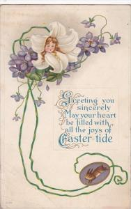 Easter Easter Lily With Young Girls Face 1915