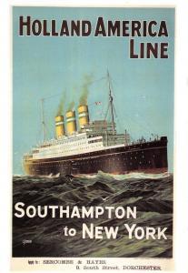 Postcard Holland America Line, Southampton to New York Repro Advertising Card