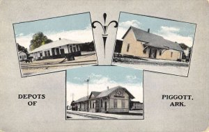 Piggott Arkansas Railroad Depots Multiview Vintage Postcard KK457