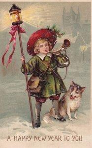 NEW YEAR, PU-1911; Boy holding Lantern on pole bowing a horn, Dog