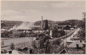 Factory Smoke Gota Sweden Landscape Real Photo Rare Postcard