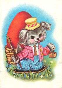 Postcard Holidays Easter egg painting humanized dog hat