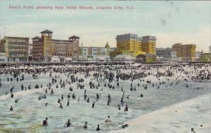 New Jersey Atlantic City Beach Front Showing New Hotel Strand 1913