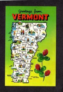 VT Greetings From Vermont State Map Postcard, Bradford,Northfield,Putney