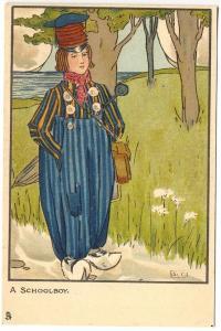 Raphael Tuck Little Hollander A Schoolboy with Umbrella Postcard