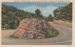 Hairpin Turn on Route 50 near Clarksburg WV, West Virginia - pm 1957 - Linen
