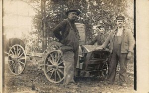 Horse & Wagon Saw for Cutting Cordwood Very Clear Image Real Photo Postcard