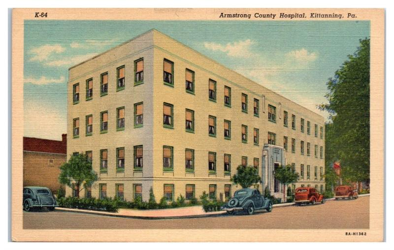 Mid-1900s Armstrong County Hospital, Kittanning, PA Postcard