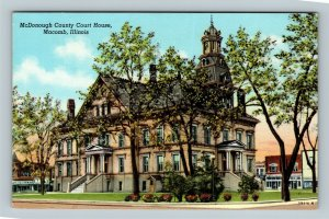 Macomb IL, McDonough County Courthouse, Chrome Illinois Postcard