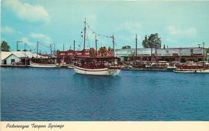 Tarpon Springs Florida~Anclote River~Sponge Fleet Docks~1960s Postcard