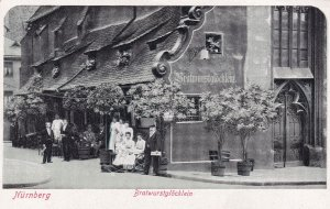 Bratwurst Glocklein Nurnberg Antique German Postcard With Cafe Postmark