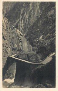 Postcard Switzerland Teutelsbrucke canyon mountain pass