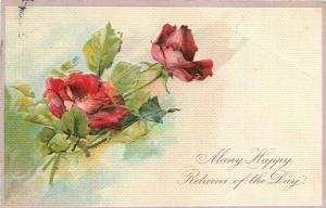 PFB Flowers~Long Stem Red Roses~Embossed~Germany~Ser 5969