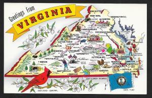 Bird & Flag & Map of Virginia unused c1950s