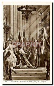 Old Postcard The coronation of Charles VII in Reims