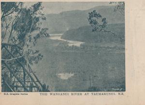 Wanganui River at Taumarunui Antique New Zealand Postcard