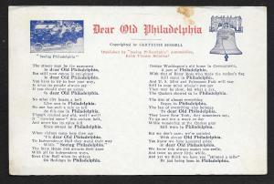 Words to Poem 'Dear Old Philadelphia' Pennsylvania Unused c1910s