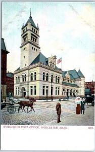 Worcester, Massachusetts Postcard WORCESTER POST OFFICE Street View c1900s
