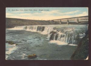 GREAT FALLS MONTANA RAINBOW FALLS WATERFALL BRIDGE VINTAGE POSTCARD