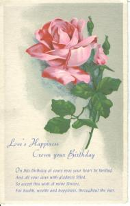 Love's Happiness Crown your Birthday, used greeting Postcard