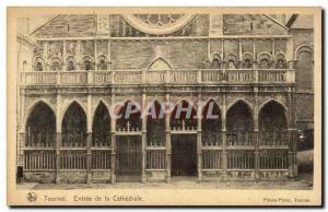 Old Postcard Tournai Belgium Entrance to the cathedral