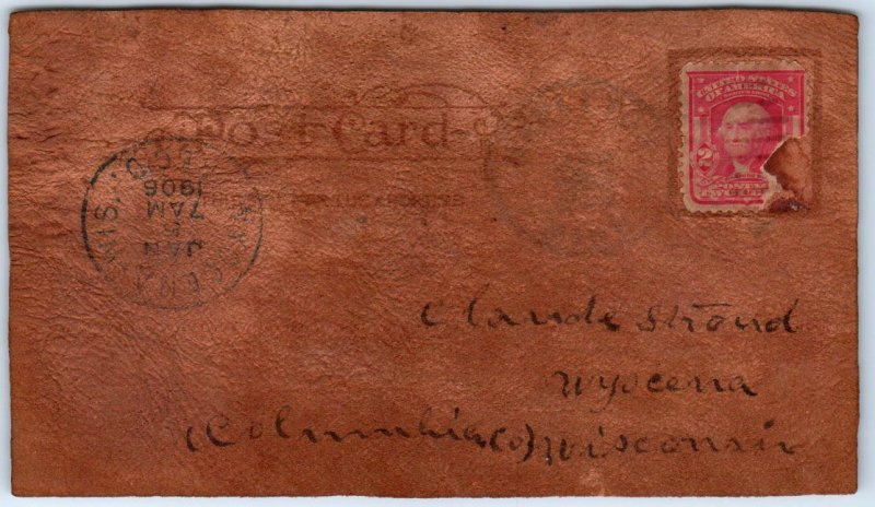 1906 LEATHER Greetings Postcard Just Landed in Mapleton Michigan Cancel
