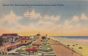 Florida Daytona Beach General View Ocean Front Park And Boardwalk 1943
