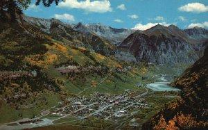 Telluride, Colorado, CO, Air View, San Juan Mts., Chrome Vintage Postcard g8371