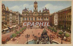 Old Postcard Lyon Place Bellecour The Hotel de Ville and Bartholdi Fountain