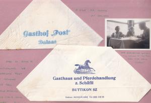 Gastof Post Dalaas Buttikon Austria 2x Restaurant Serviette s & Photo