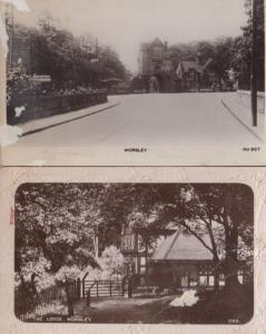 Worsley The Lodge Manchester Salford 2x Antique Old Real Photo Postcard s