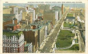 1920s Chicago Illinois Michigan Boulevard Aeroplane Selling Teich postcard 1693