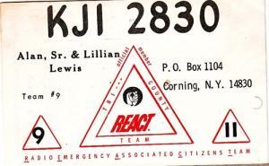 CB QSL - KJI2830, Alan & Lillian Lewis, Corning NY