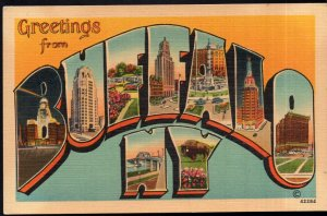 New York Large Letter - MultiView - Greetings from BUFFALO - LINEN