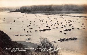 KLAMATH, CALIFORNIA, FISHING BOATS ON KLAMATH RIVER RPPC REAL PHOTO POSTCARD