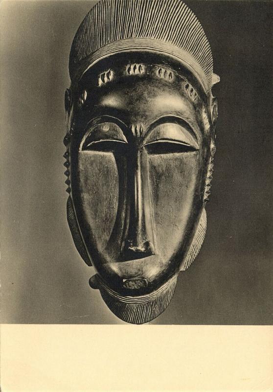 ivory coast, African Baule Baoulé Mask (1950s) Hoa-Qui RPPC