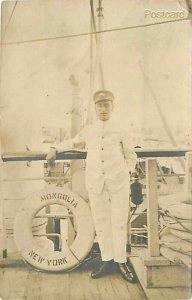 Military, USS Mongolia, British Navy Man, Pacific Mail Steamship Company, RPPC
