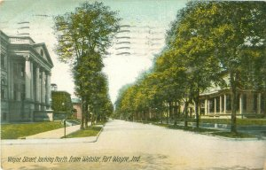 Main Street Looking North From Webster Fort Wayne, Indiana 1911 Postcard
