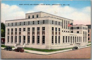 Springfield, MO Postcard Post Office and Federal Court Building Linen c1940s
