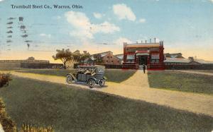 Warren Ohio~Trumbull Steel Co~Factory & Offices~Vintage Car Picks Up Worker~1914