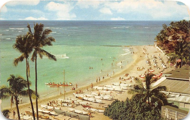 Honolulu Hawaii~Waikiki Beach~LOTS of Outrigger Canoes~Pacific Ocean~1954 Pc