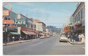 Willamette Street Cars Drug Store Eugene Oregon 1958 postcard