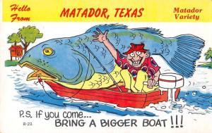 Matador Texas Greetings Fishing Exaggeration Postcard JD228011