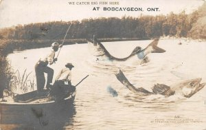 LPS69 Bobcaygeon Ontario ONT Canada Men Fishing Exaggeration Postcard