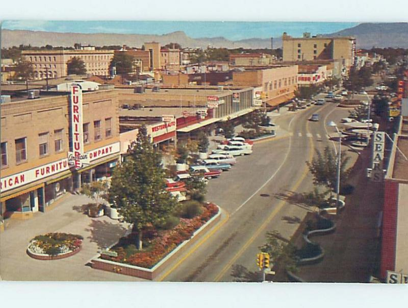 Pre-1980 FURNITURE STORE & SEARS & SHOPS ALONG STREET Grand Junction CO F1028