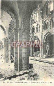 Old Postcard Mont Saint Michel Interior of the Basilica