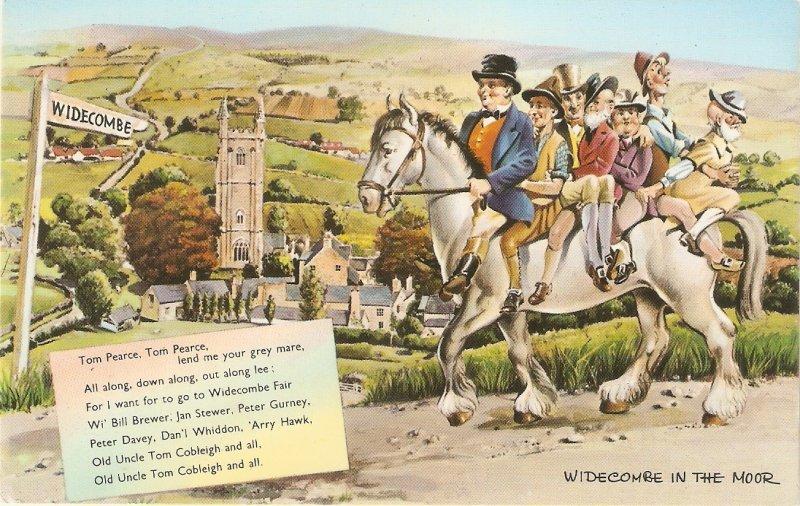 People on white horse to Widecombe Fair Nice vintage Englishbpostcard