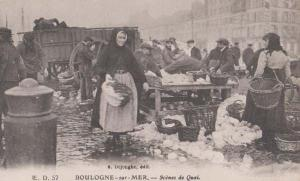 Fish Fishing Lady Fishermen Markets Boulogne Antique French France Postcard