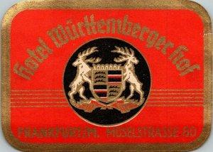 Germany Frankfurt Hotel Wuerttemberger Hof Vintage Luggage Label sk4806